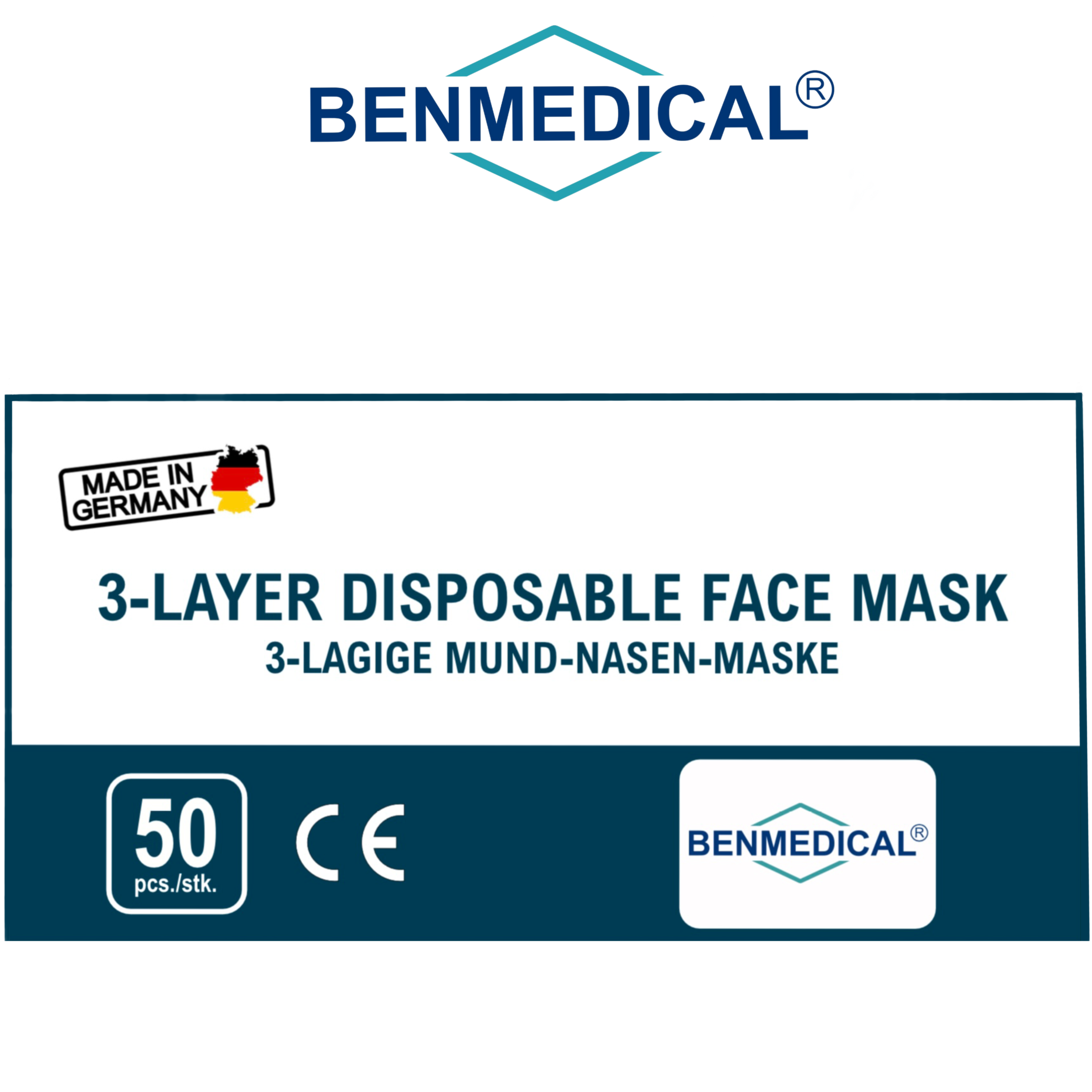 Box mit 50 Stück | Typ II-R Maske  [3 - LAGIGER MUND-NASE-SCHUTZ]